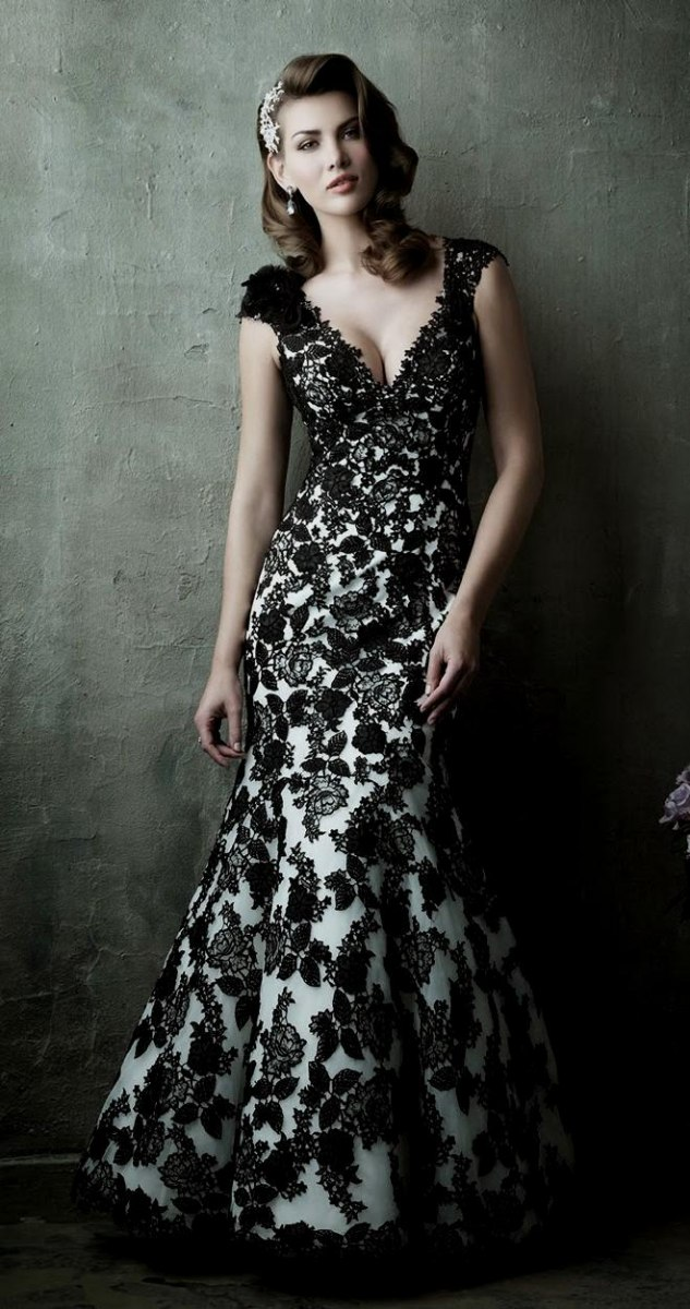 All black lace wedding dress